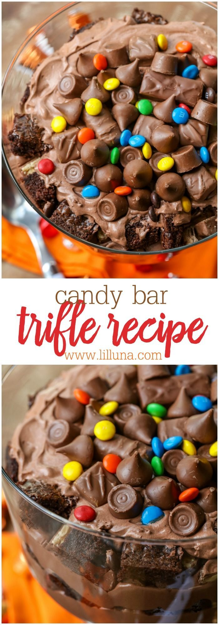 Delicious Candy Bar Trifle layered with brownie chunks, chocolate cream and candy. A great dessert to use with all that leftover Halloween candy!