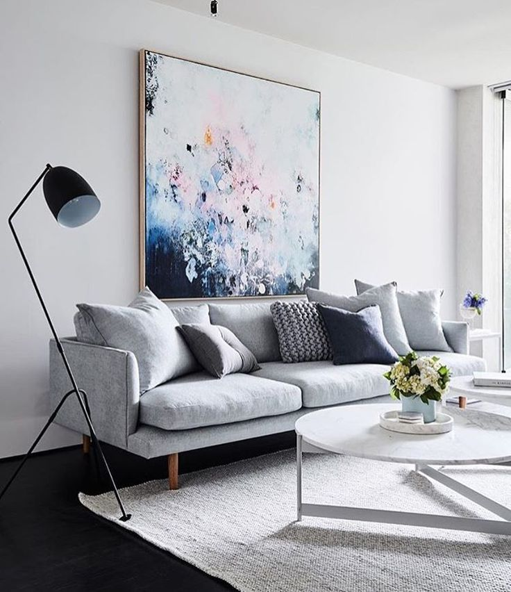 Attractive Living Room Pale Grey Sofa Scatter