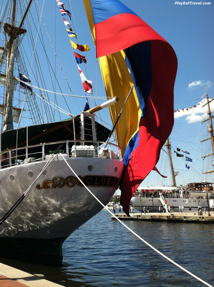 "Columbian Tall Ship"" - This huge #Columbian #flag was displayed from a #tall #ship during it's #visit to a #US #port for a #celebration.  #Love the contrast of colors in this #photo.    Share"