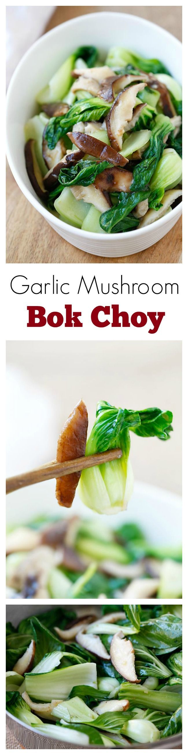 Garlic Mushroom Bok Choy – the easiest, healthiest, and best veggie dish with bok choy, mushroom and garlic. 3 ingredients & 10 minutes to make | rasamalaysia.com | #veggie