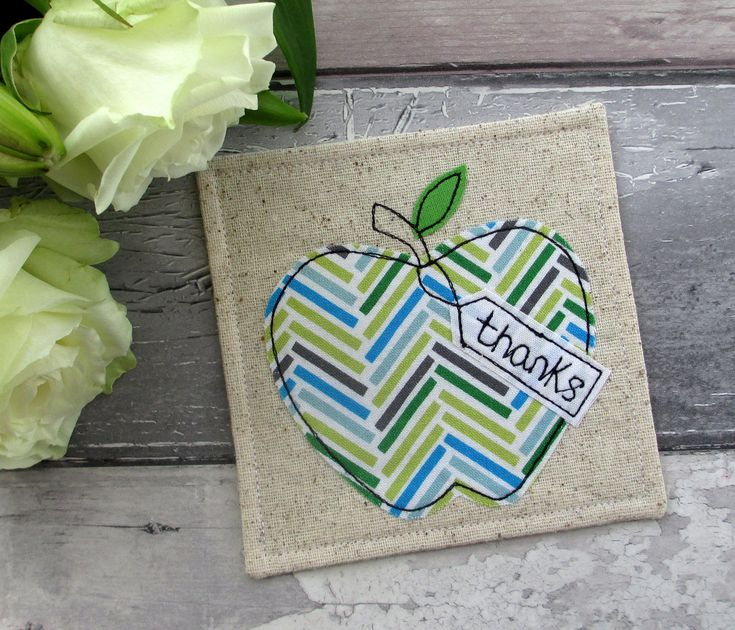 Thank You Gift, Apple Coaster, Fabric Coaster, Apple Gift, Gift For Him, Chevron Coaster, Gift For A Teacher, End Of Term Gift, Desk Coaster by TheCornishCoasterCo on Etsy