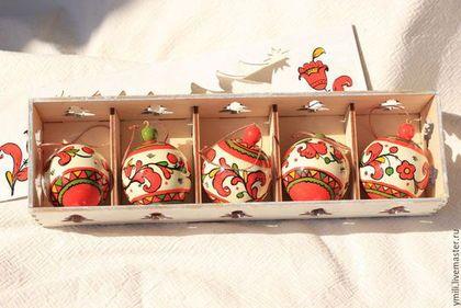 """Набор елочных шаров из дерева с авт. росписью 5шт. """"Красивые"""" 5см. - подарок новогодний"""