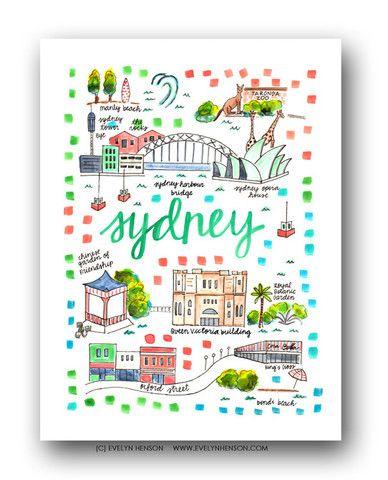 Sydney Map Print Evelyn Henson Art Illustration