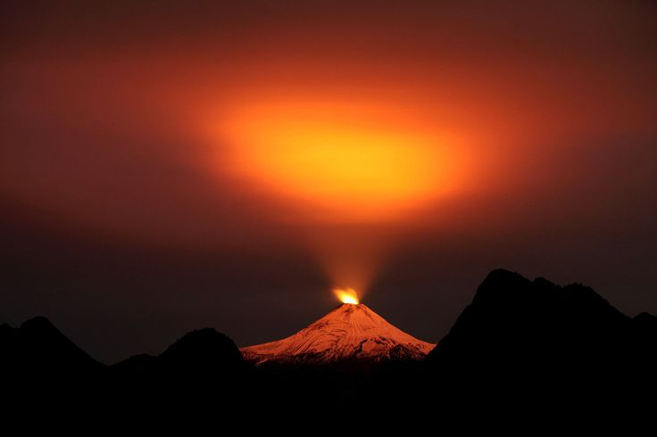 PUCON, CHILE The Villarrica Volcano is seen at night on May 10.