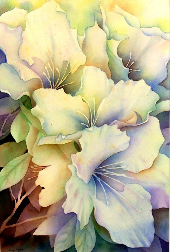 """""""White Azaleas"""" by Sherry Roper.  Nice example of negative painting technique."""
