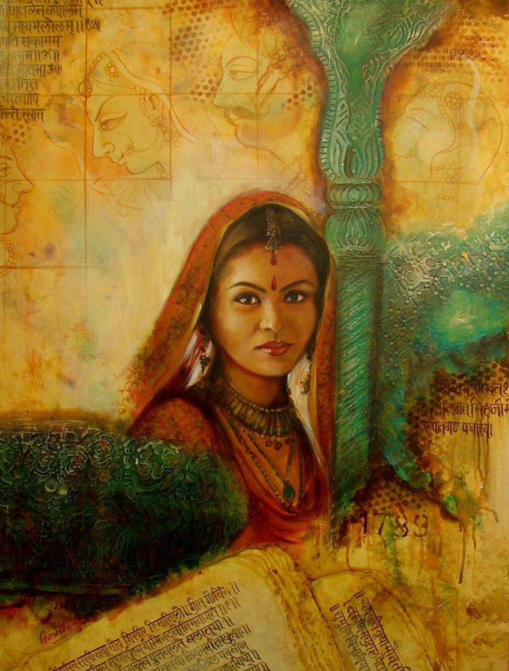 "The ""Women Series"" by the artist is a true tribute to the Indian women showing her mesmerizing journey that virtually transports the onlooker across the river of time into the land of touching rituals palaces, war fronts and Vedas…..each painting unfolds a different story."