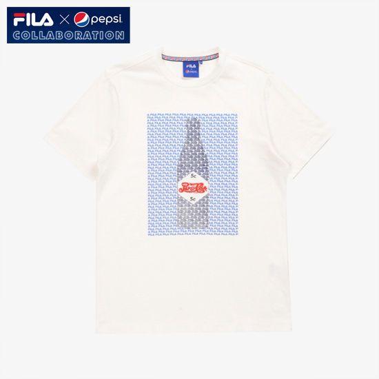 [Fila X Pepsi Cola] Limited Collaboration Bottle T-shirt Unisex Adult White #FILA #Tshirt
