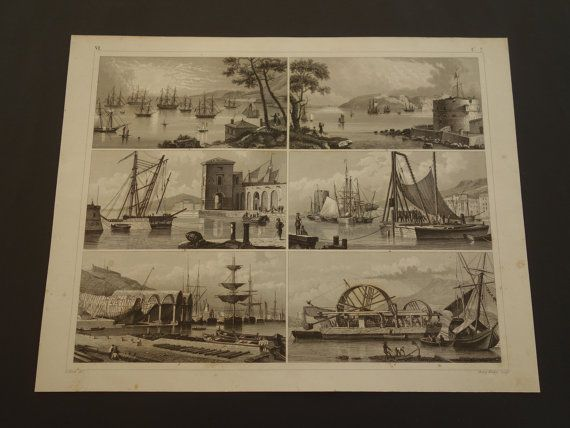 Old maritime print of ports 1849 antique naval by DecorativePrints