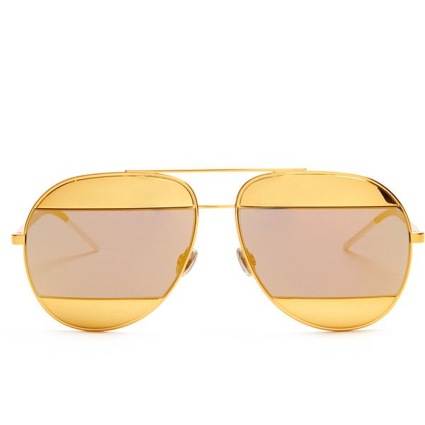 Dior Split mirrored aviator sunglasses (€435) ❤ liked on Polyvore featuring accessories, eyewear, sunglasses, gold, mirror lens sunglasses, mirrored lens sunglasses, orange glasses, mirror glasses and aviator glasses