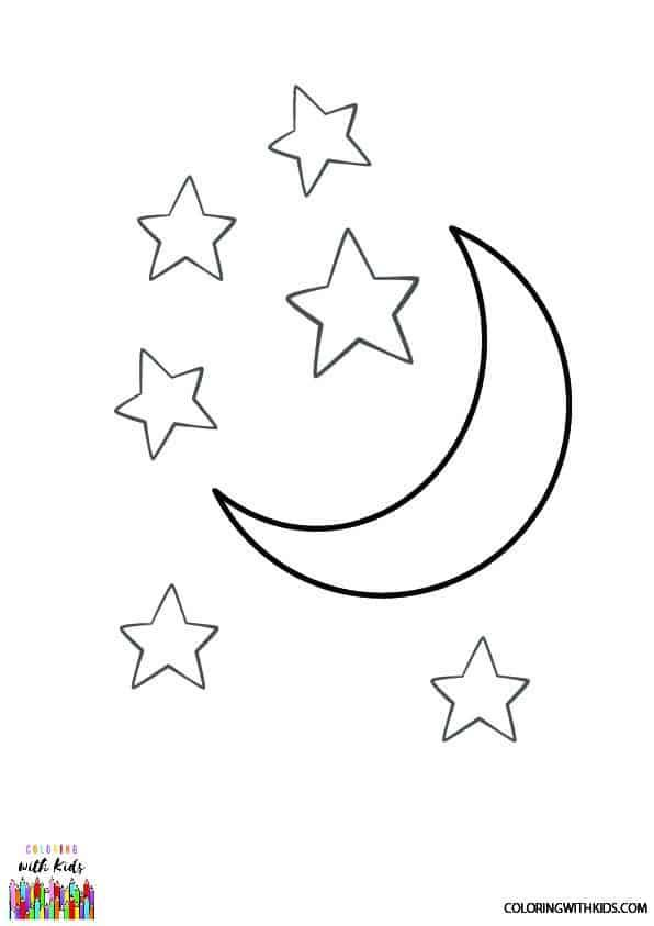 Free Coloring Pages Of Stars And Moon Star Coloring Pages Moon Coloring Pages Sun Coloring Pages