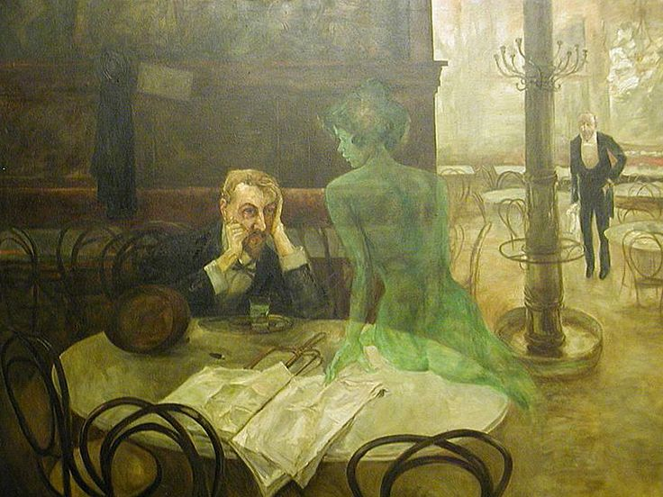 """The Absinthe Drinker"" Viktor Oliva (Czech 1861–1928),1901"