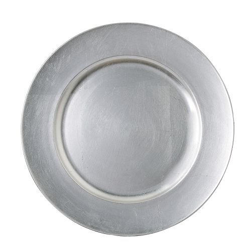Plastic Charger Plates - Silver, round (borrowed from NLC)