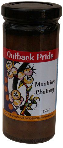 Outback Pride Muntries Chutney - 250mls The fresh taste of Limestone Coast Muntries have been combined with cinnamon, cloves, sultanas and apples to create a very fruity chutney.  Serve on cheese platters, with cold serves or alongside salad.  Absolutely yumbo with Corned Beef  Product of Australia  (BT-REL-OP-MC250) Buy 1 or more:	Pay $10.00 Buy 2 or more:	Pay $9.50