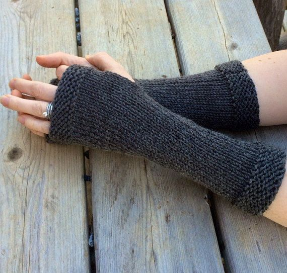 Claire's fingerless mitts, outlander gloves, arm warmers, long fingerless gloves in charcoal grey, 100% wool, made in the USA