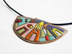Hundertwasser - enamel necklace - colorful - house by Boroka Halasz