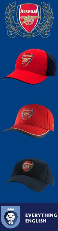 Arsenal FC Caps with Crest EverythingEnglish.com #AFC #ArsenalFC #ArsenalFootballClub #Gunners #Gooners #EmiratesStadium #EnglishPremierLeague #EPL #Football #SoccerGear #EverythingEnglish