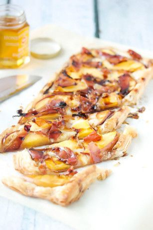 Peach, Proscuito & Brie Puff Pastry Tart