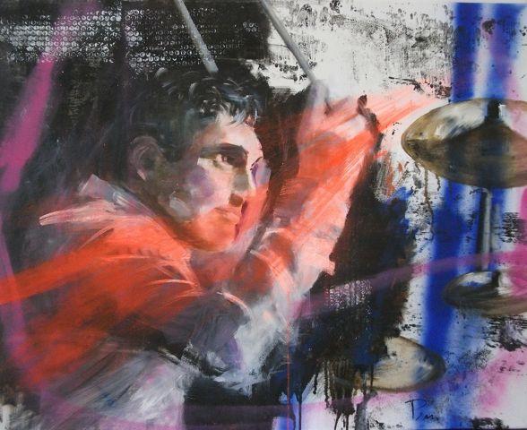 Big bang - Olio su tela - cm.80x100 - musicista jazz, musica jazz