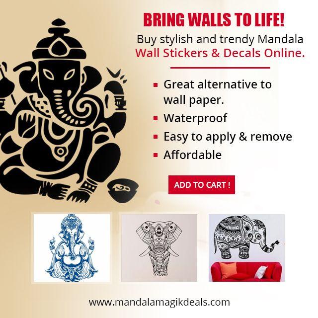 Bring walls to life. Buy stylish and trendy mandala #wallstickers and #decals online at www.mandalamagikdeals.com