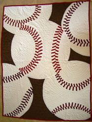Beautiful baseball quilt for the Cardinal room!