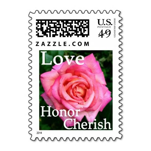 floral pink rose postage stamps love honor cherish