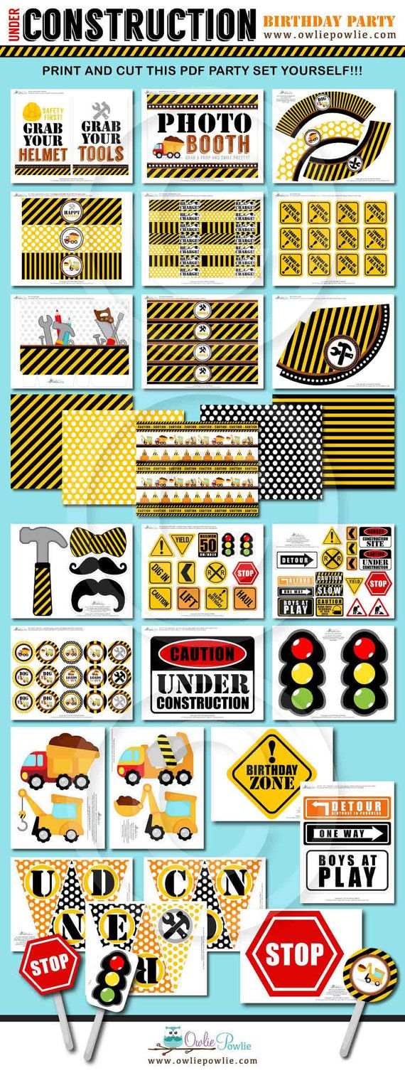 Construction BIRTHDAY Party Printable Package & Invitation