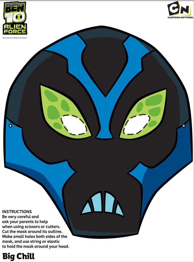 #Free Ben 10 - Big Chill - Printable face mask #free #printables