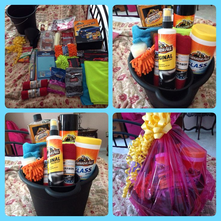 "gift ""bucket"" for car lovers! all the goods you need to detail a car and some of their favorite snacks :)  I purchased wrap, snacks, bucket, cloths etc at $1 store. The actual detail goods from whatever store you can find with the best price. Sure to be a hit! :)"