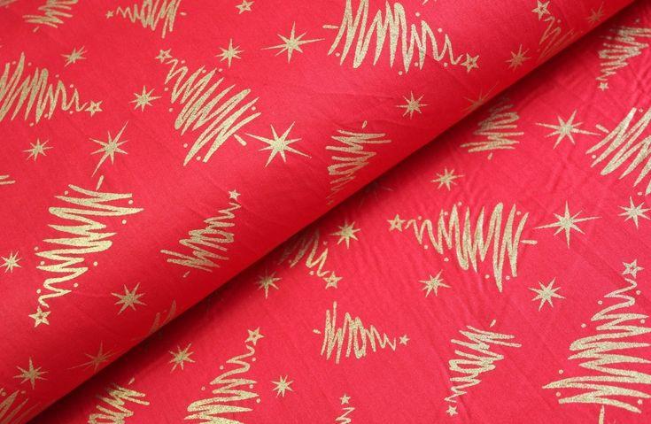 Zlaté vánoční stromky na červené