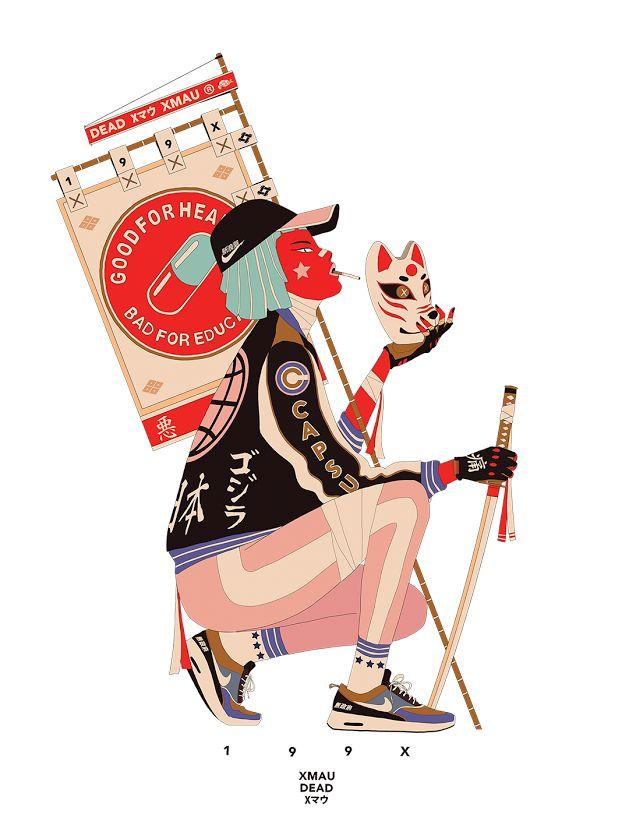 Mau Lencinas, a.k.a. 199hates, crée un Tokyo dystopique où se télescopent cyberpunk, hip-hop et illustration japonaise traditionnelle