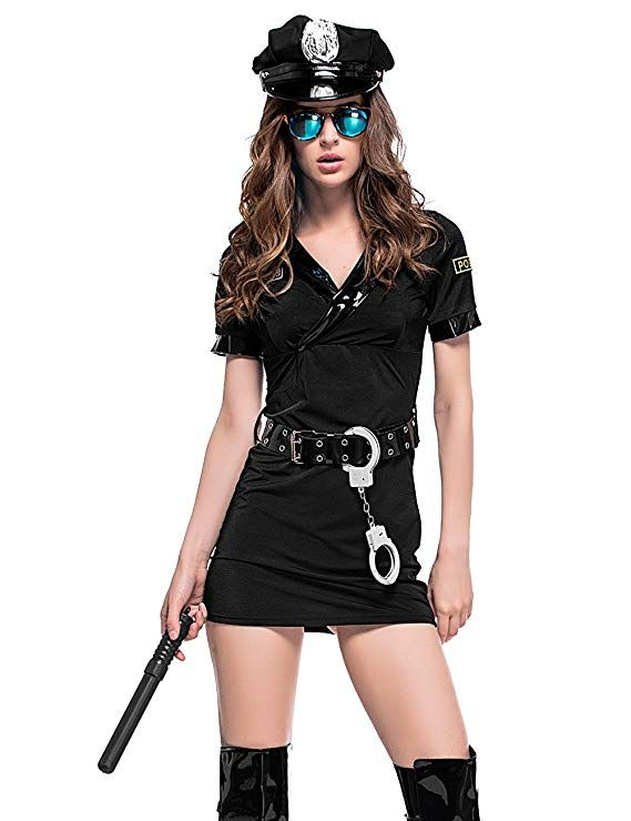 Colorful House Women S Black Police Officer Uniform Costume With Handcuffs Belt Hat Large Mardi Gras Outfit Casual Co Fashion Police Officer Uniform Women