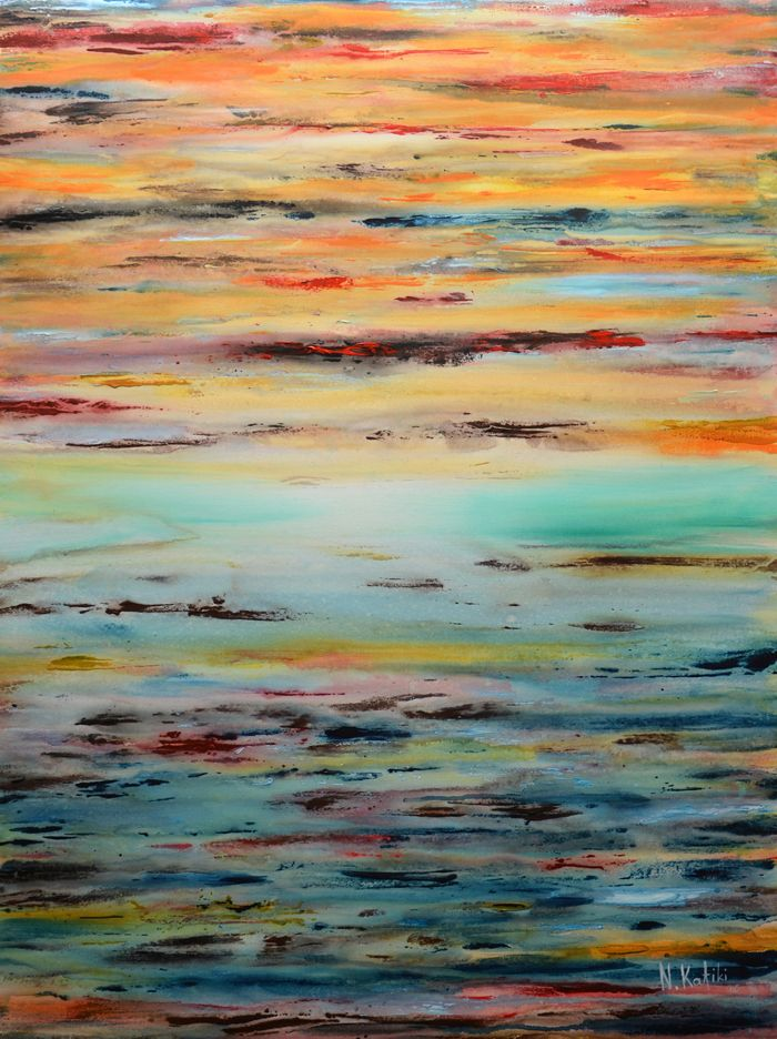"""Sunset on my mind"" is a colorful abstract painting.  The size of artwork is: 60 X 80 X 3 cm  The painting is made on high quality canvas, with the finest oil materials and it is varnished for protection against UV light and dust.  The paintings are shipped unframed, in architectural sturdy tube for more protection.  All paintings are signed by"