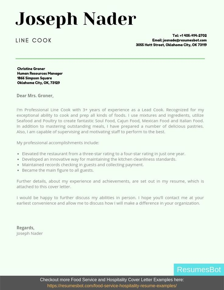 Line Cook Cover Letter Samples & Templates [PDF+Word] 2019