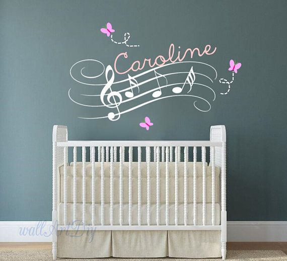 Name wall decals Music notes wall decal Nursery wall mural Pink wall stencil for girl's room Butterfly and name wall sticker