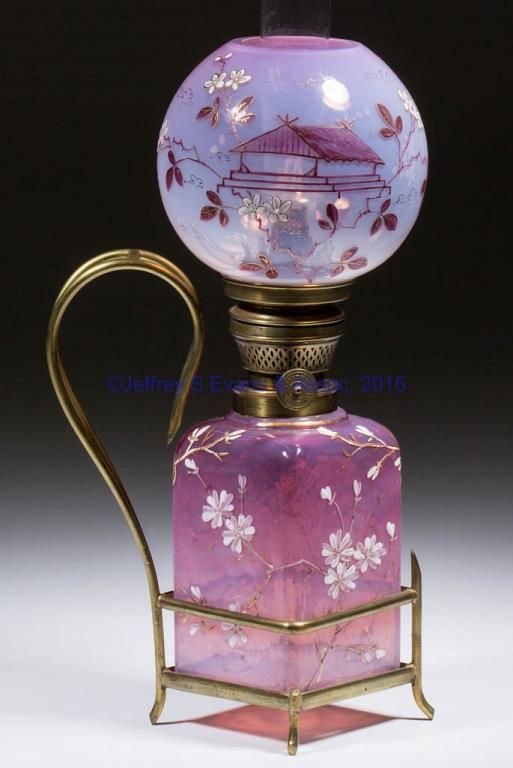"""opalescent, square-form base with a ball shade, each having a Japanese-inspired design, fitted into a metal frame with gilt decoration. Period """"Brenner"""" burner with wick. Maker unverified. Late 19th/early 20th century. 14"""" HOA, 3"""" SQ base. <BR><I>Shade having typical roughness to the fitter, otherwise undamaged.</I><BR>Literature: Smith - Miniature Lamps I, p. 225, fig. 556.<BR> Provenance: Property of an Ohio private collector.<BR><BR>"""
