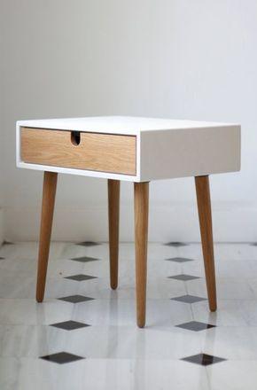 White nightstand / Bedside Table,  Scandinavian Mid-Century Modern Retro Style