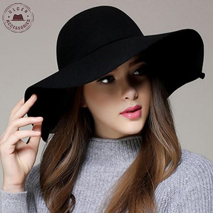 Chapeau Hot Sale Casual Fedora Cap Wide Brimmed Dome Hats High Quality Wool Floppy Hat Womens black cloche hats [gen-621]