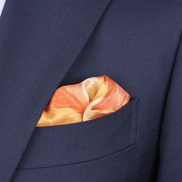 Orange Leaf Silk Pocket square – Pocket Squares – Accessories