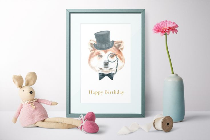Watercolor Dogs.Animal Clipart by CatherineWheel on @creativemarket Hand-painted Watercolor Dog illustration Hipster dog, dog in hat, nursery art, funny art