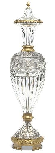A French ormolu-mounted cut-glass vase, late 19th century