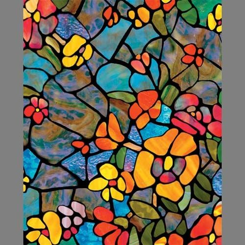 Stained Glass Venetian Garden translucent floral window adhesive film: 200x3006 | Privacy Window Film Decorative Adhesive Vinyl Glass Covering