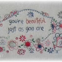 Embroidery: You Are Beautiful - stitchery