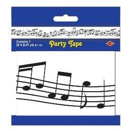 Party Tape Muzieknoten -  Een lang decoratie lint met muzieknoten. Lengte: 6 meter. Leuk voor muziek en disco themafeesten.