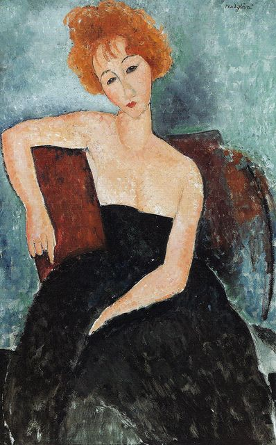 Amedeo Modigliani - Redhead Girl in Evening Dress, 1919