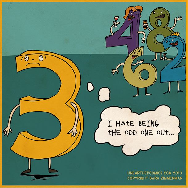 Math cartoon humor about being odd one out http://UnearthedComics.com