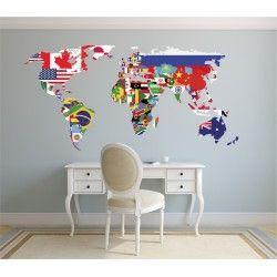 Vinilo decorativo mapamundi banderas