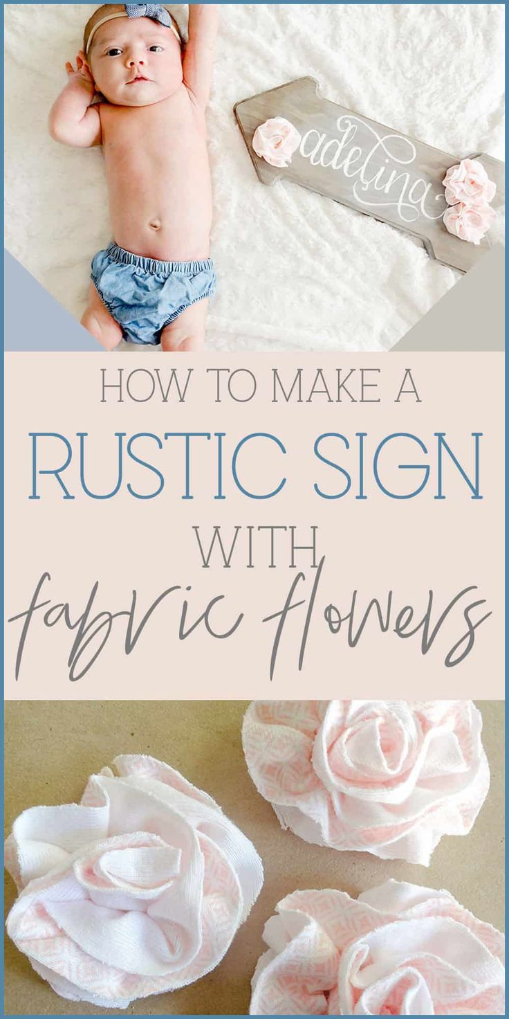 Want a fun and easy DIY fabric flower tutorial? This rustic wooden sign is perfect for baby girl nursery decor, and it's affordable too! Grab the DIY tutorial at www.homebeautifully.com #fabricflowers #woodlandnursery