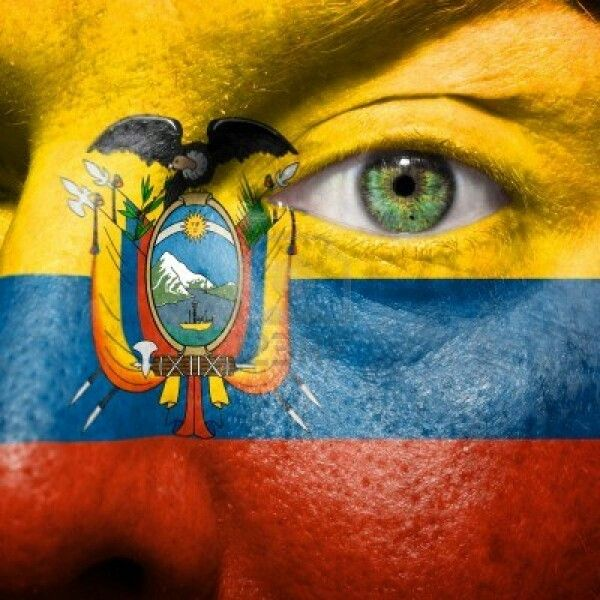 Ecuador's flag painted in a face