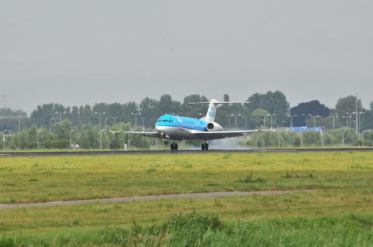 KLM Fokker 70 landing @ Schiphol Airport