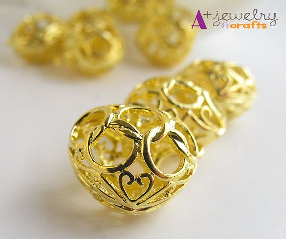 Golden color heart beads heart pendants gold by APlusJewelryCrafts
